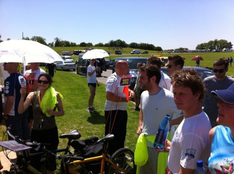 Team A and Base camp members at the start